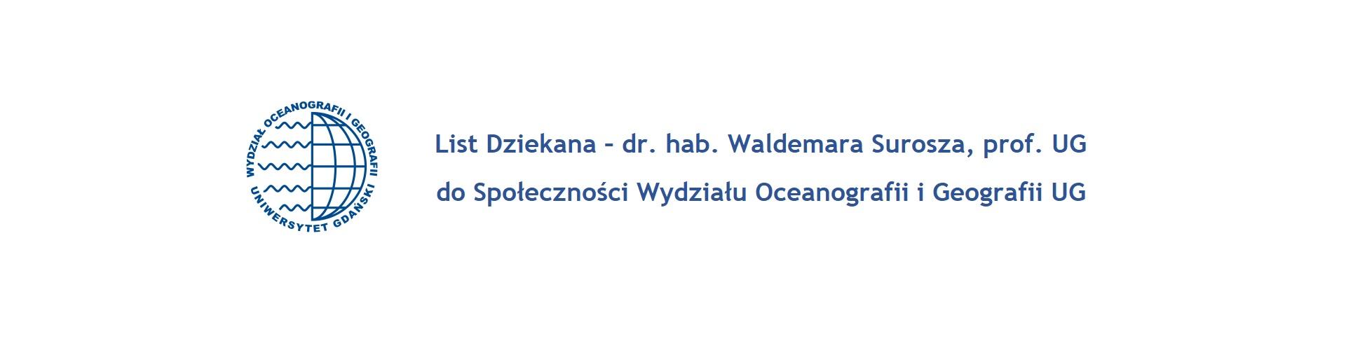 List Dziekana do Społeczności Wydziału Oceanografii i Geografii UG