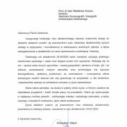 list od Prezydenta Gdyni z okazji rozpoczęcia roku akademickiego 2019/2020