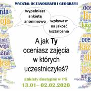 plakat z informacją o terminie ankietyzacji zajęć dydaktycznych