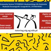 plakat z informacją o naborze na tutoriale